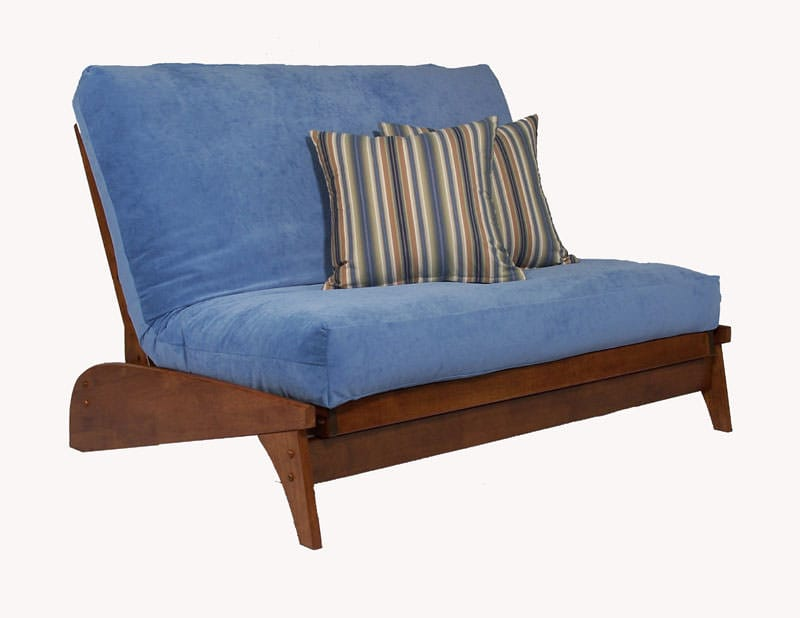 Dillon Warm Cherry Twin Chair Wall Hugger Futon Frame By Strata Furniture Strata Furniture