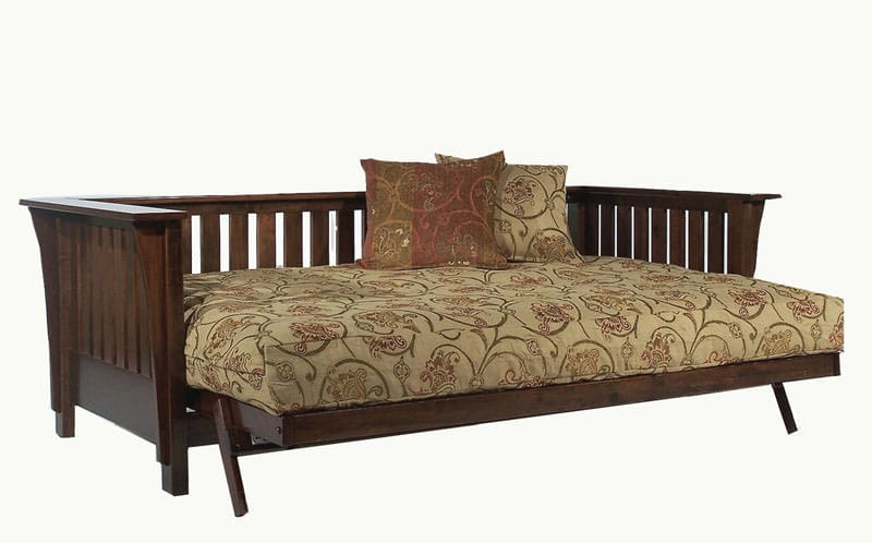 Mission Rim Dark Cherry Full Wall Hugger Futon Frame By