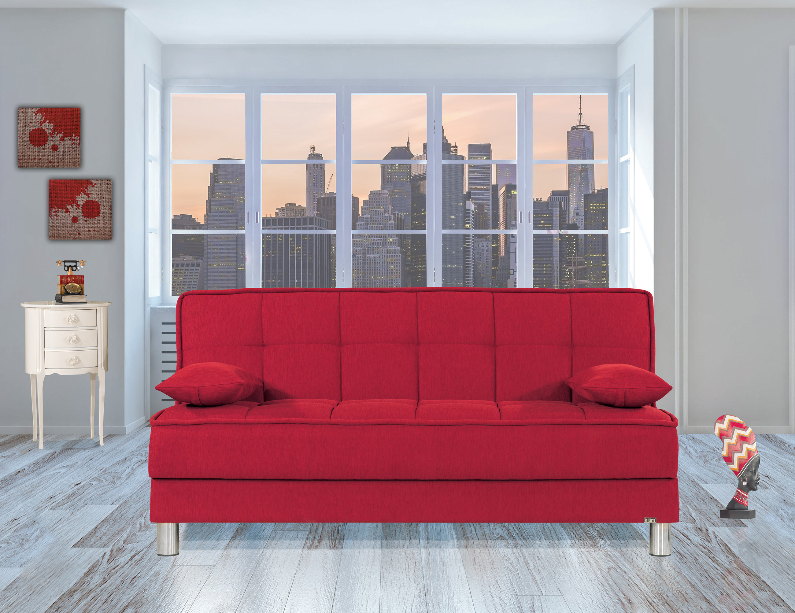 Smart Fit Red Convertible Sofa by Casamode