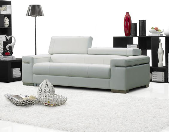 Soho Premium Italian Leather Sofa White By J M Furniture