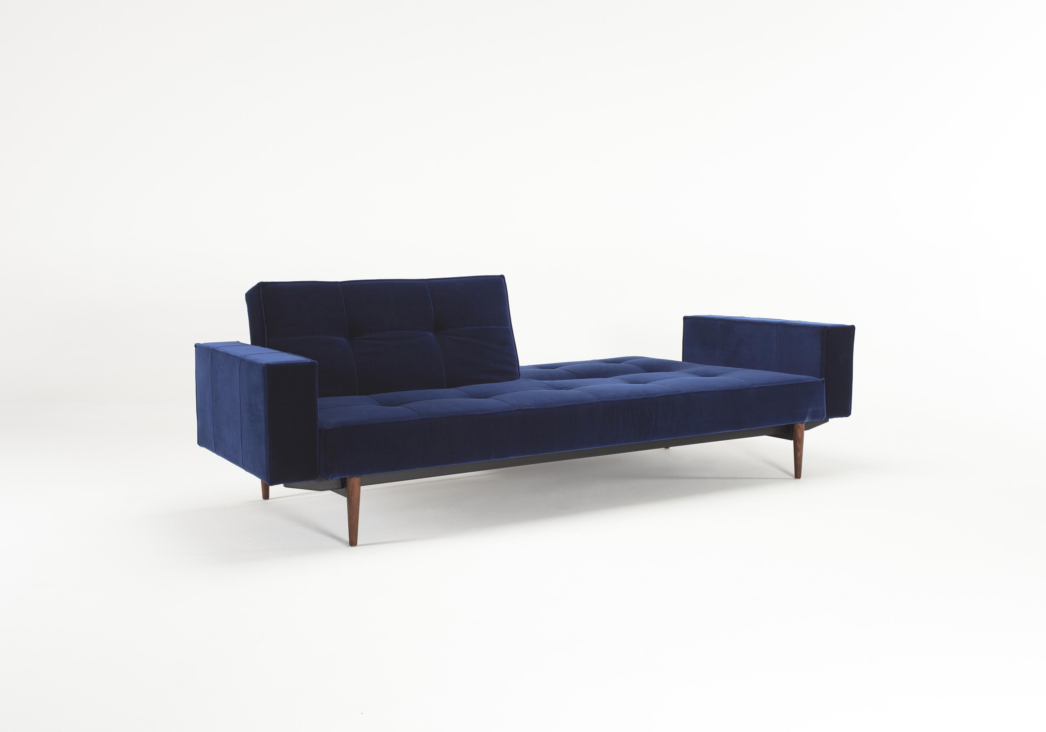 Splitback Sofa Bed W Arms Vintage Velvet Blue By Innovation