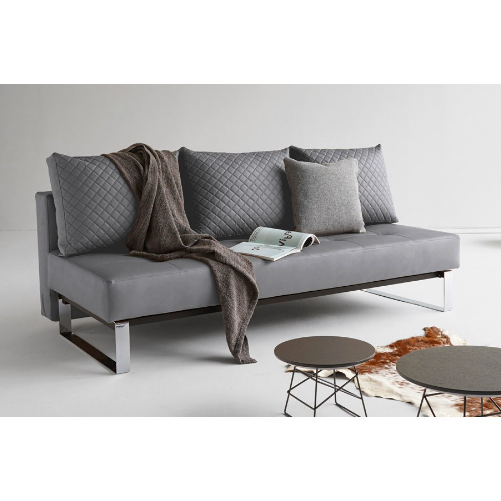 Supremax Quilt Sofa Bed Full Size Gray Leather Textile By Innovation