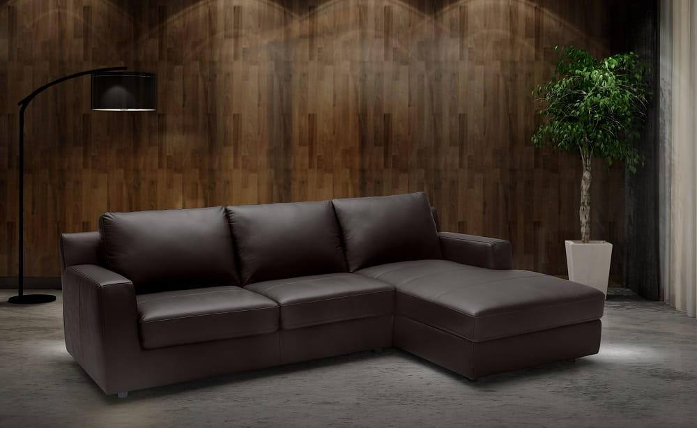 Taylor Premium Italian Leather Sectional Sleeper By J M Furniture