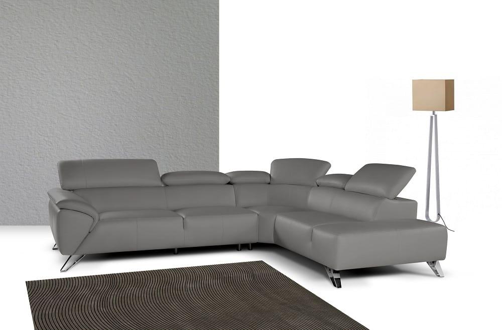 Tesla Premium Italian Leather Sectional Sofa Gray by J&M ...