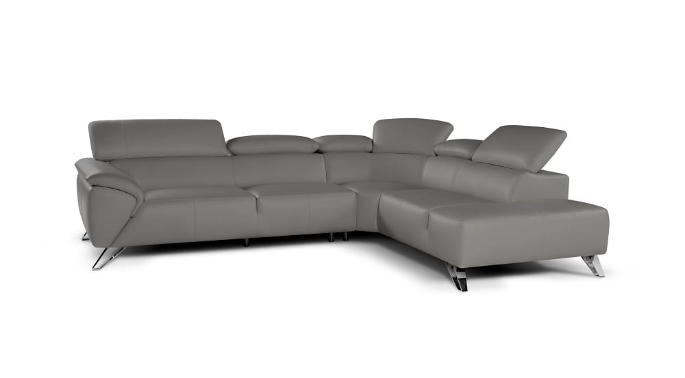 Tesla Premium Italian Leather Sectional Sofa Gray By J M Furniture