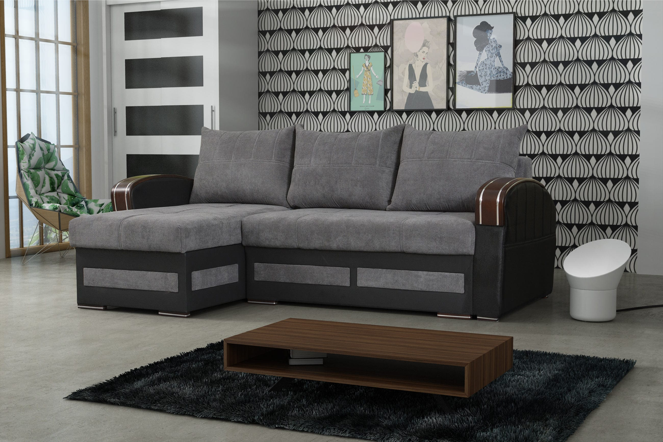 Tommy Gray Sectional Sofa Sleeper By