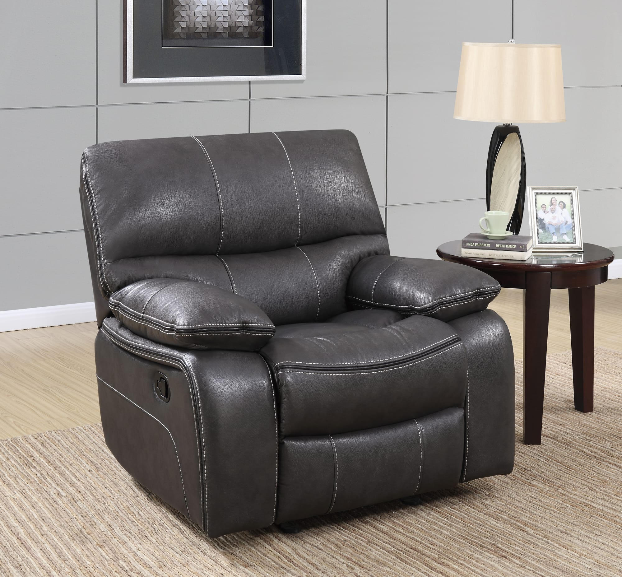 U0040 Grey/Black Leather Glider Reclining Chair By Global Furniture (Global  Furniture)