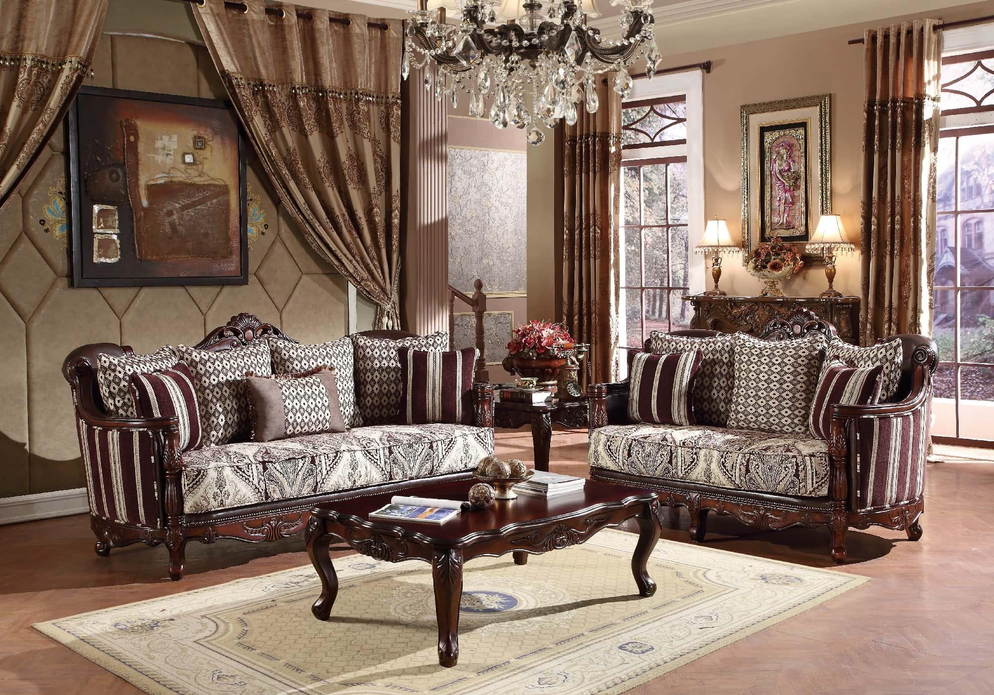 U2394 Brown Fabric Solid Wood Sofa By Global Furniture