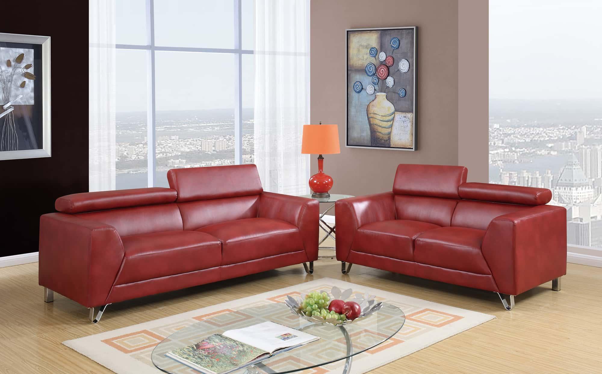 U8210 Red Sofa by Global Furniture
