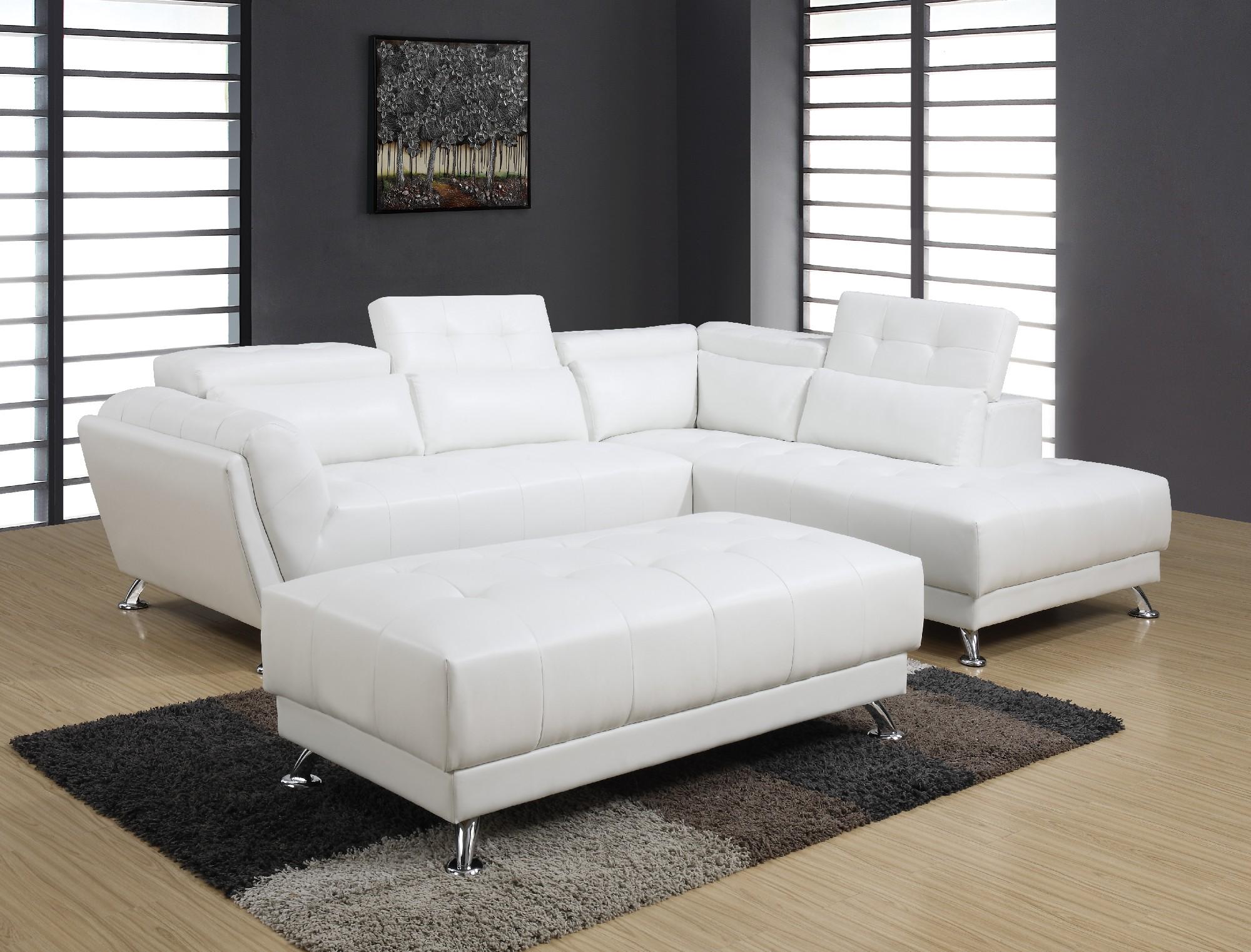 U8859 White PU Sectional Sofa by Global Furniture
