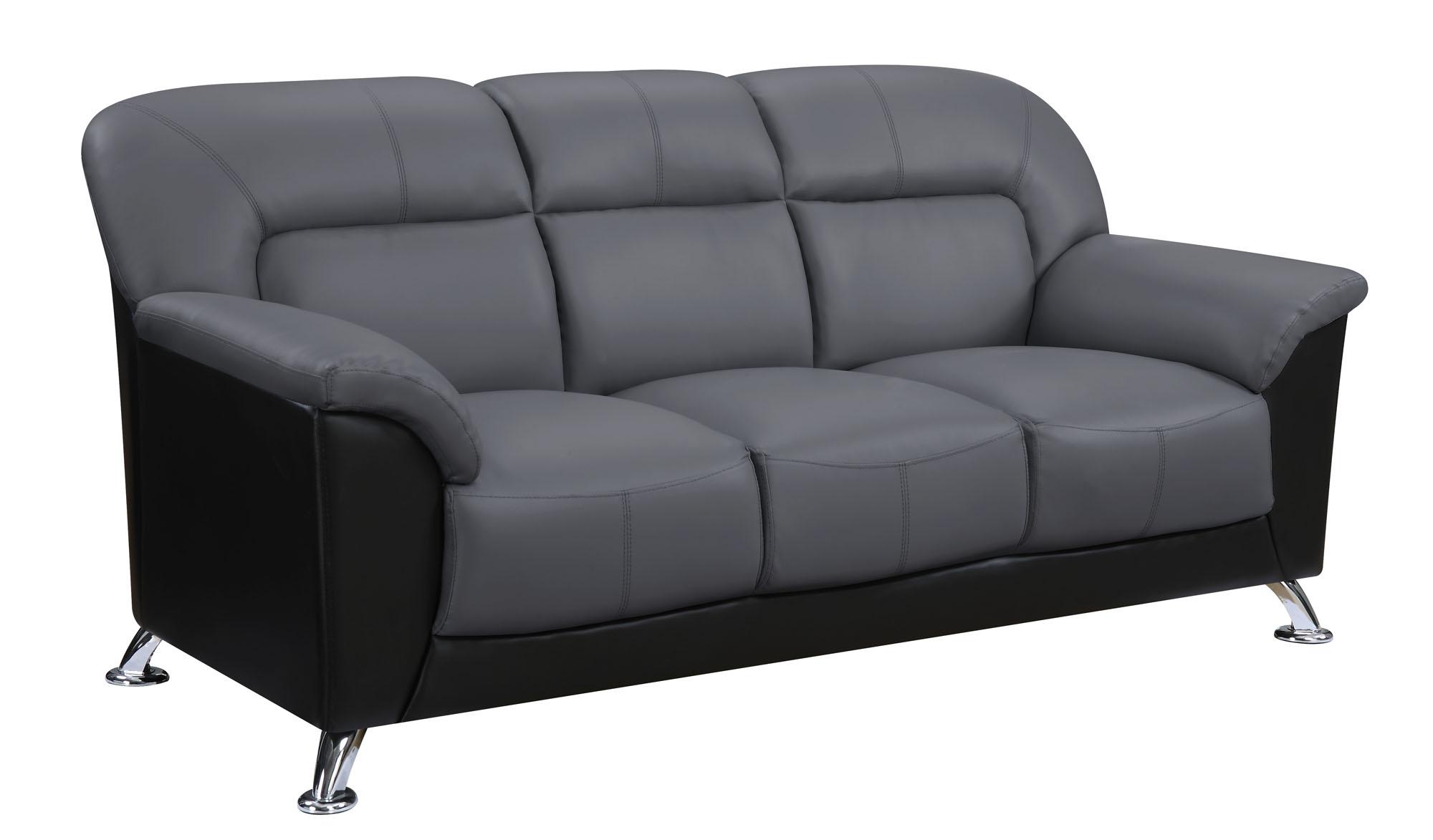 Bon U9102 Dark Grey/Black Vinyl Sofa By Global Furniture (Global Furniture)