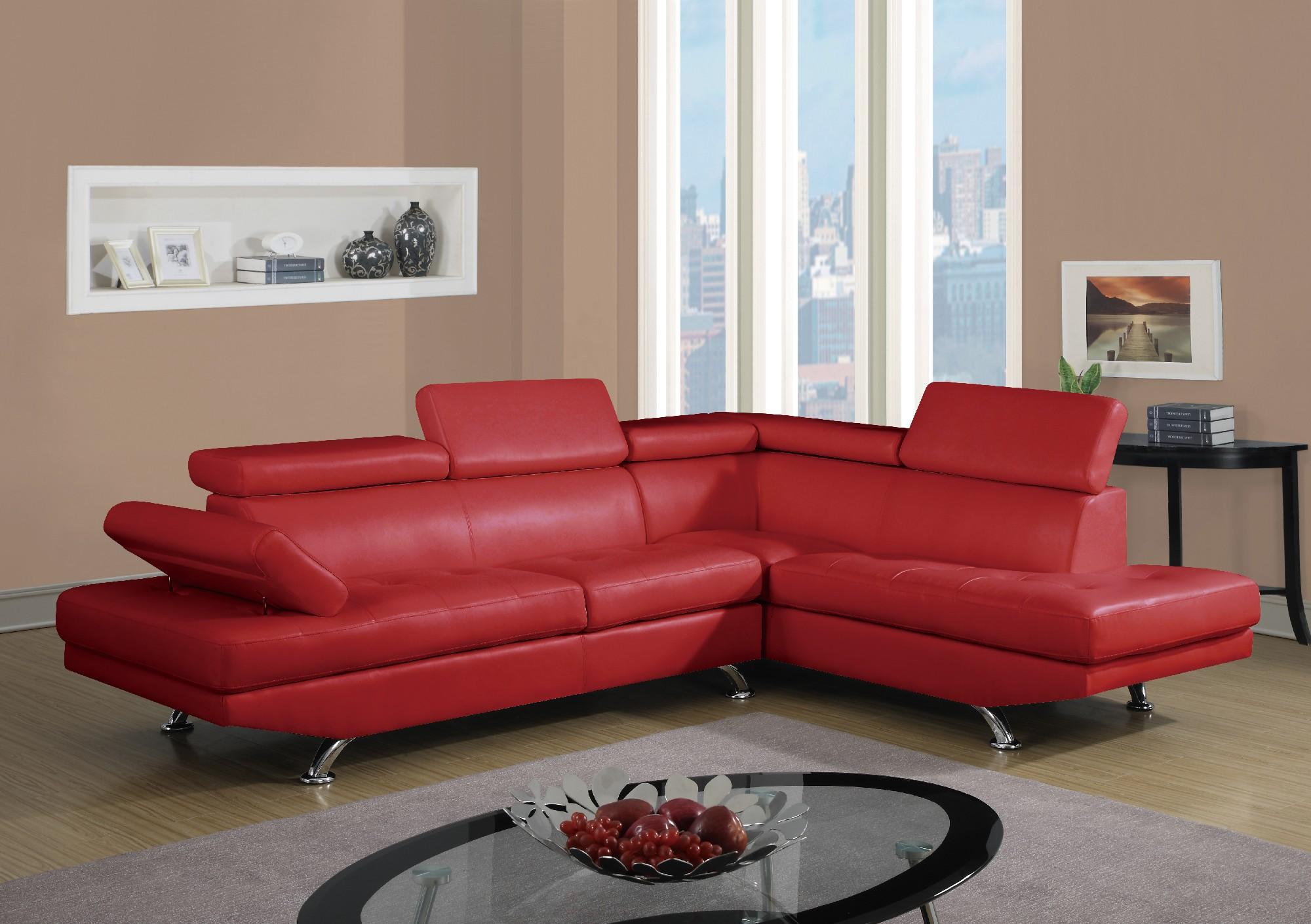 U9782 Red PU Sectional Sofa by Global Furniture