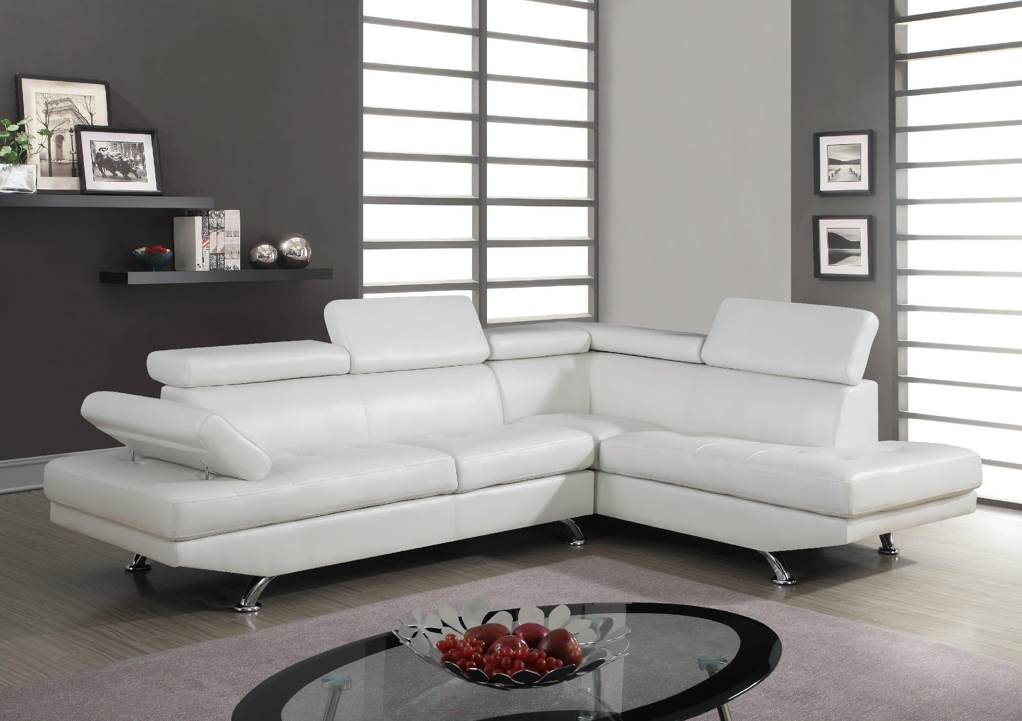 U9782 White PU Sectional Sofa by Global Furniture