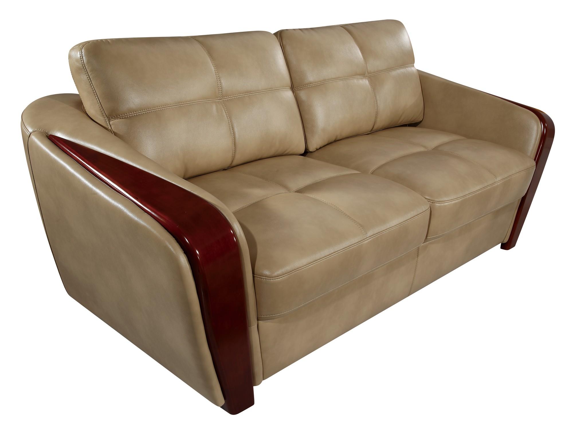 UFM206 Ivory Leather Gel Sofa by Global Furniture