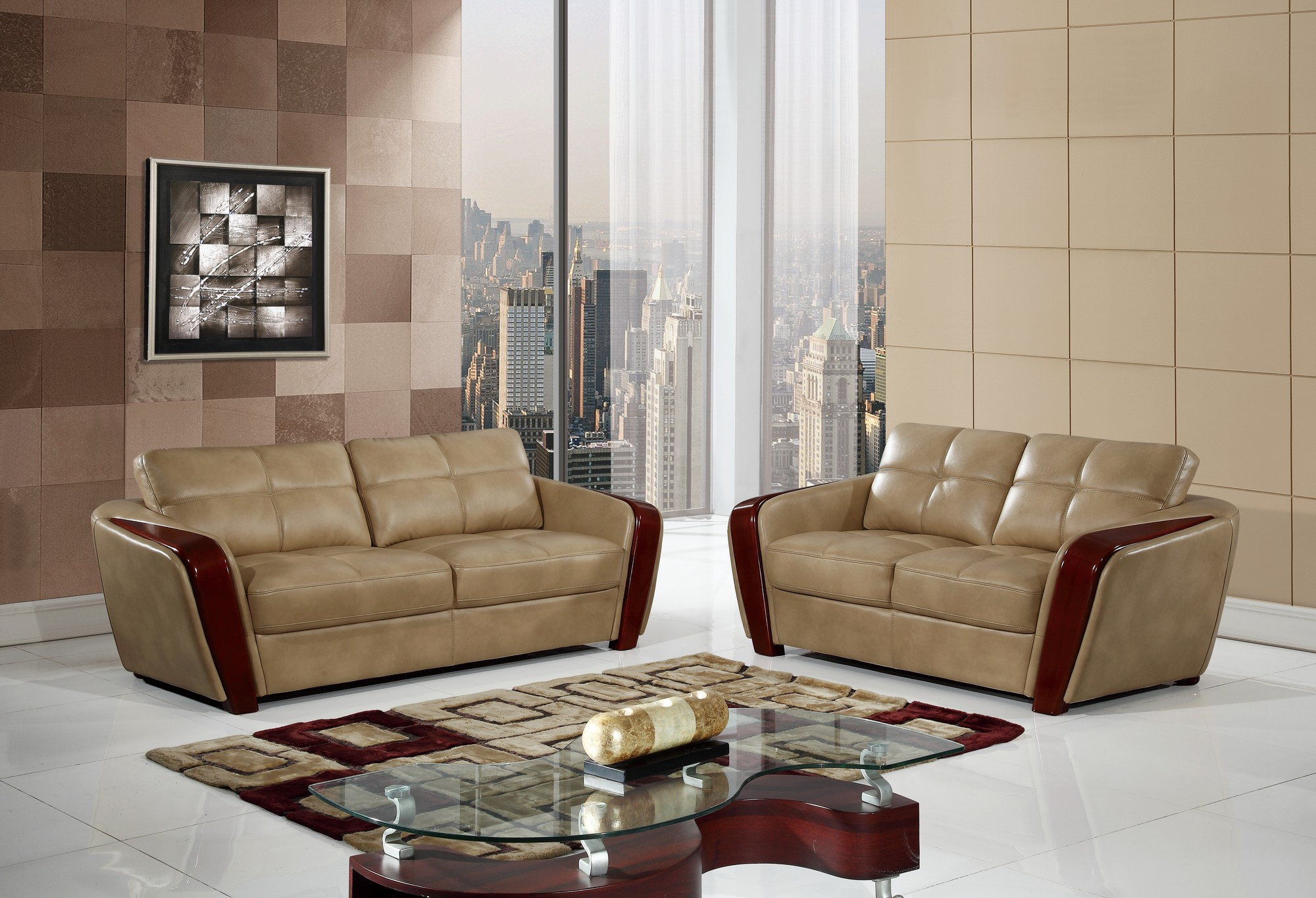 UFM206 Ivory Leather Gel Sofa by Global Furniture