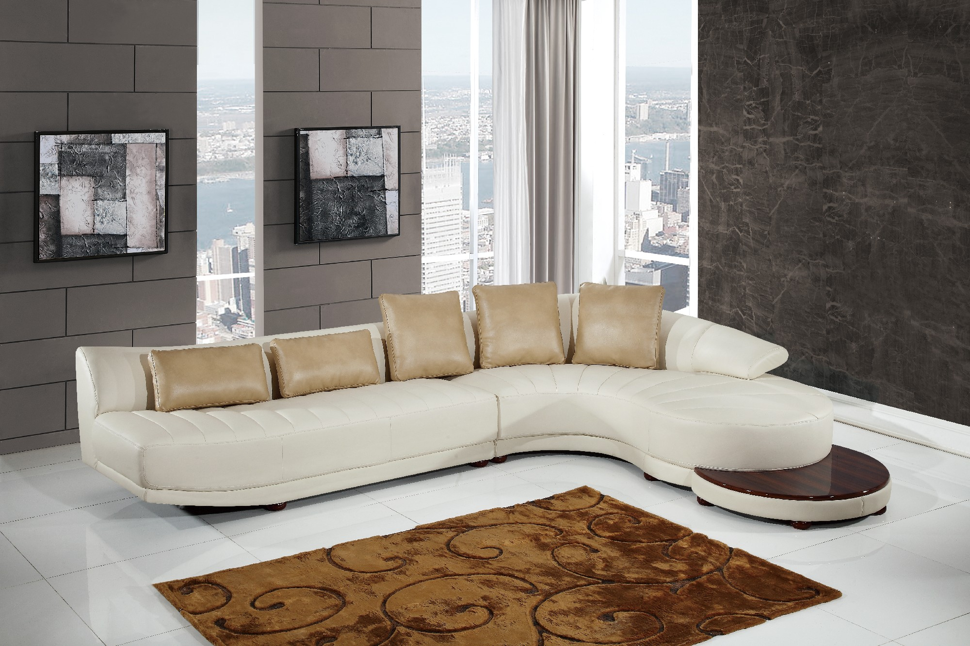 UFM208 Milky Ivory Leather Gel Sectional Sofa by Global Furniture