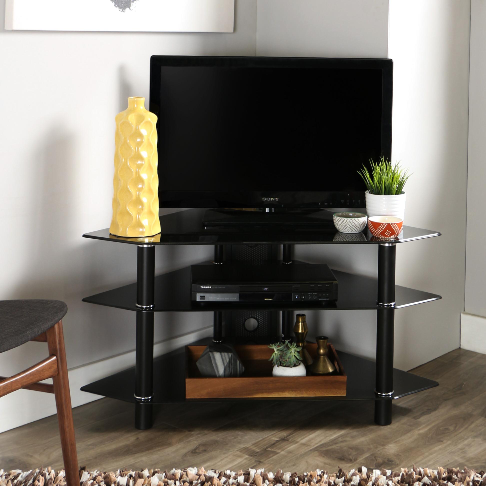 Bermuda 44 Inch Corner Glass Tv Stand Black By Walker Edison