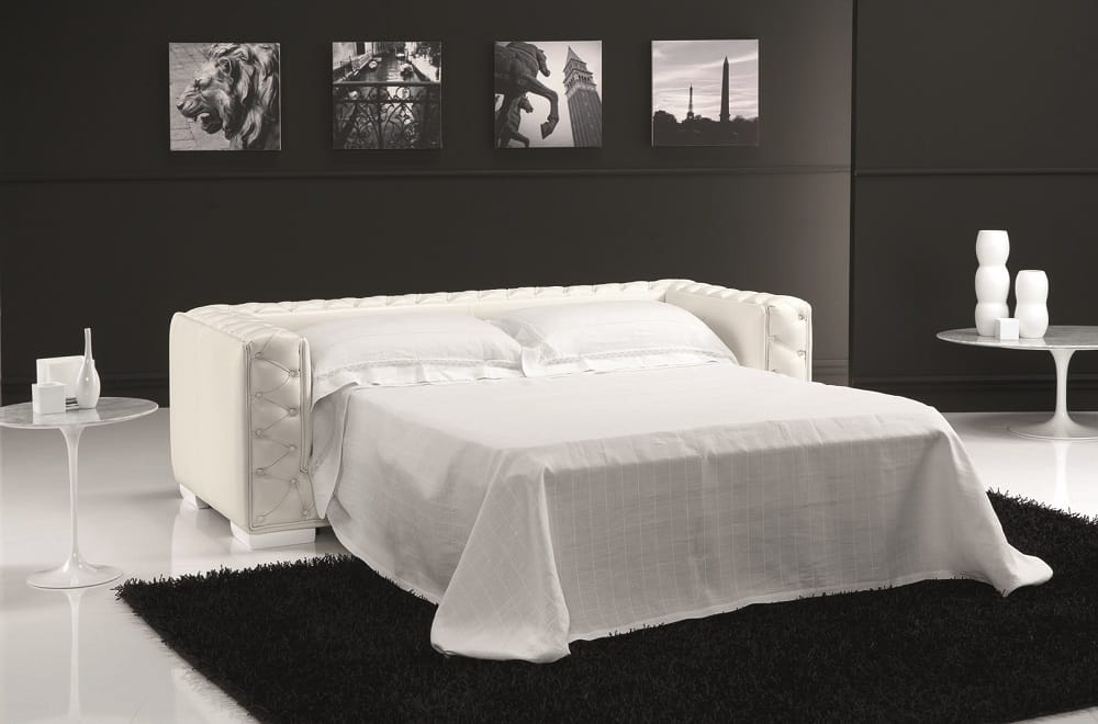 The Vanity Leather Sofa Bed White By J M Furniture