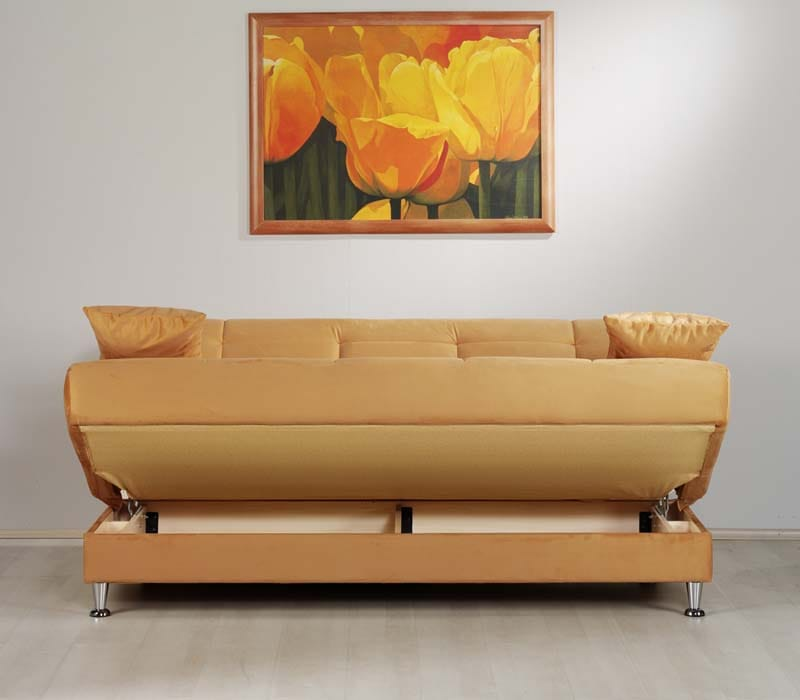 Vegas Rainbow Light Orange Convertible Sofa Bed By Istikbal Sunset