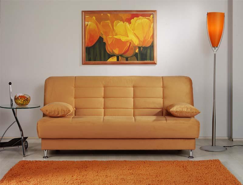 Vegas Rainbow Light Orange Convertible Sofa Bed By