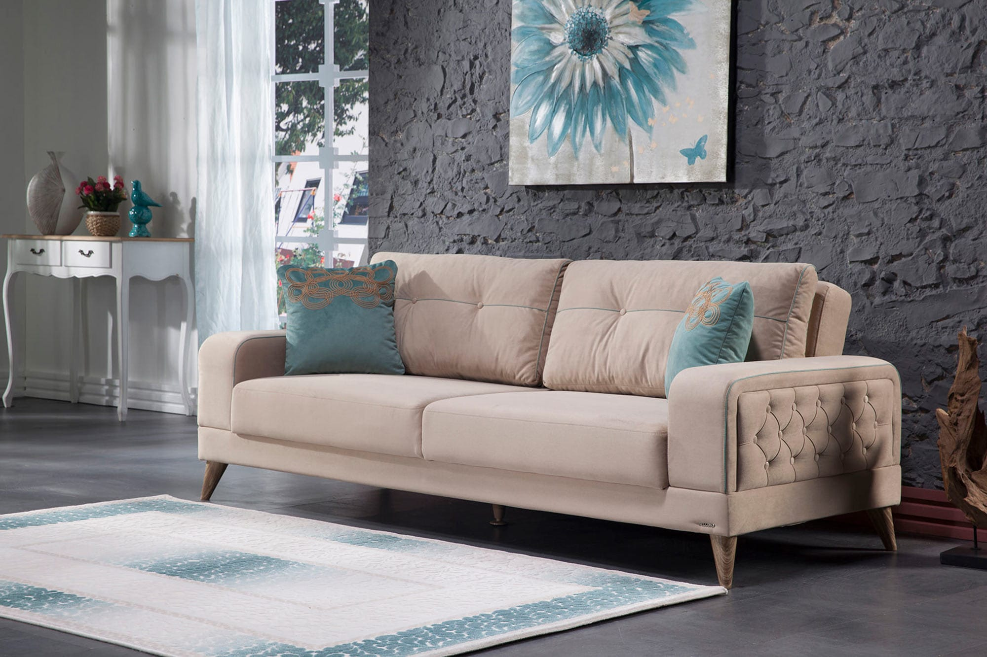 Vienza Lilyum Cream Convertible Sofa Bed By Istikbal Furniture