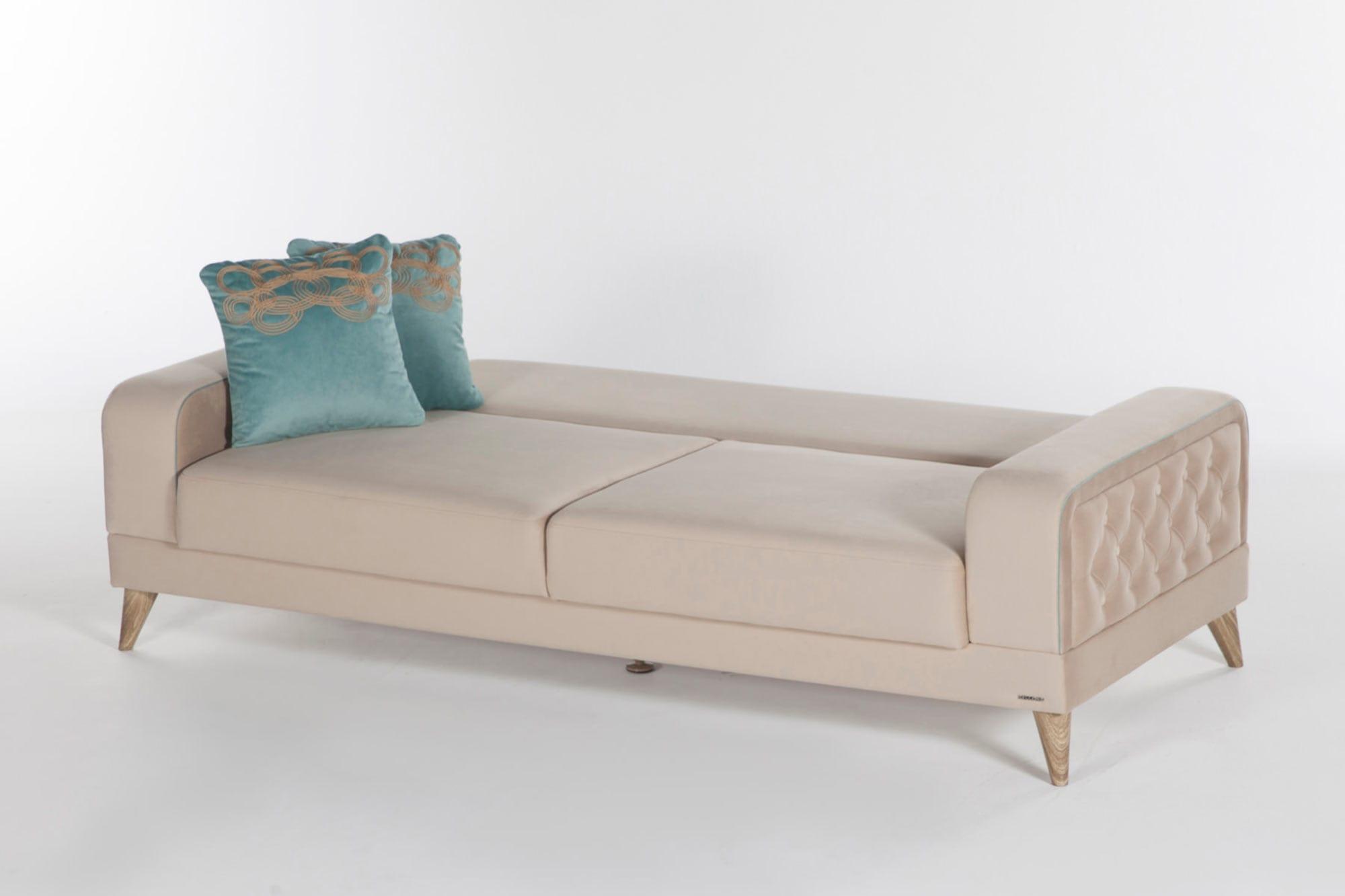 Vienza Lilyum Cream Convertible Sofa Bed by Istikbal Furniture