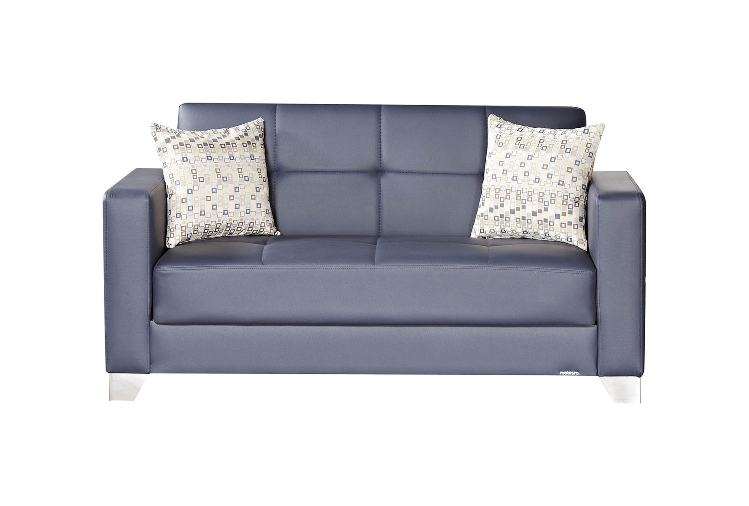 Viva Italia Prestige Navy Blue Leatherette Loveseat Bed By Mobista