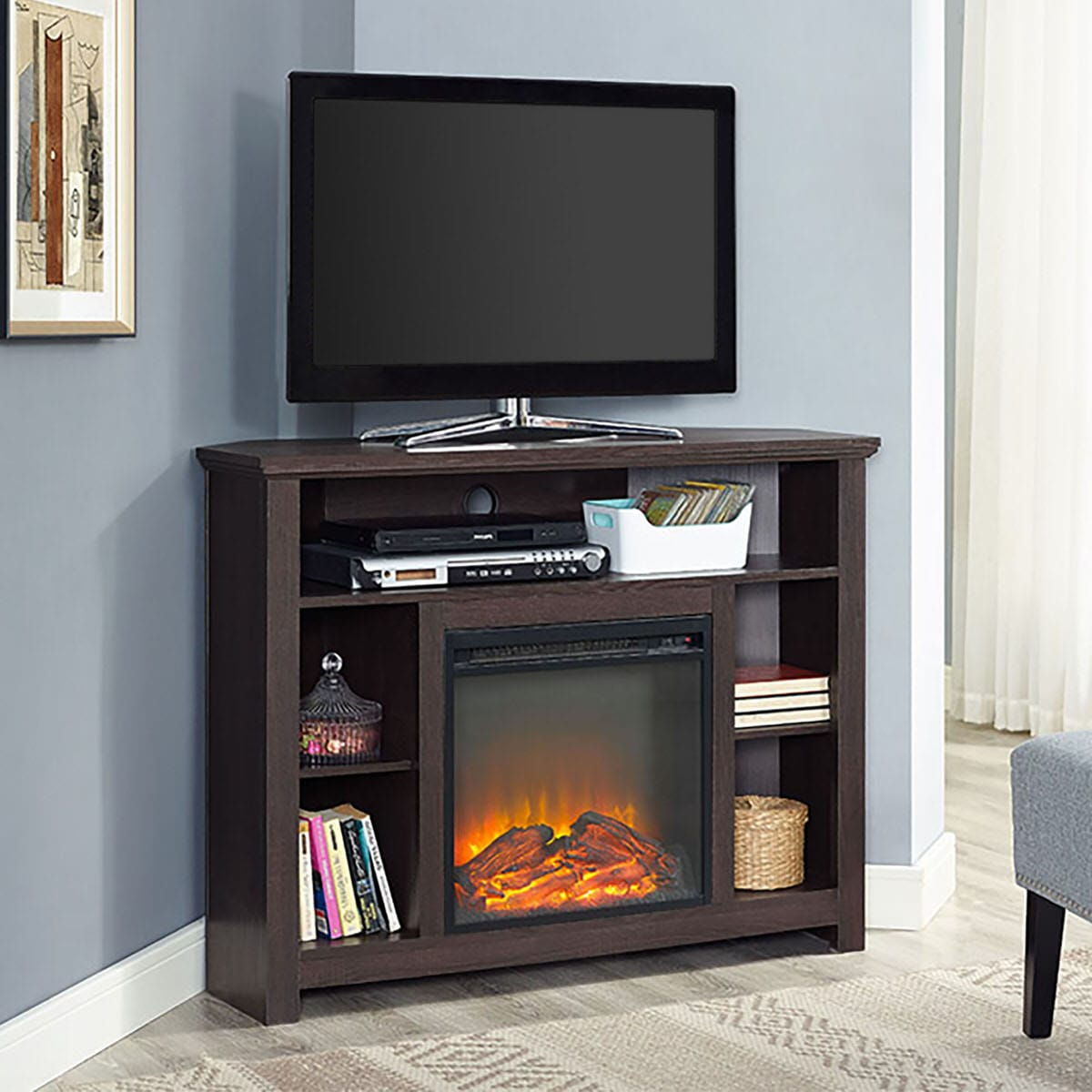 44 Inch Wood Corner Highboy Fireplace Tv Stand Espresso By Walker