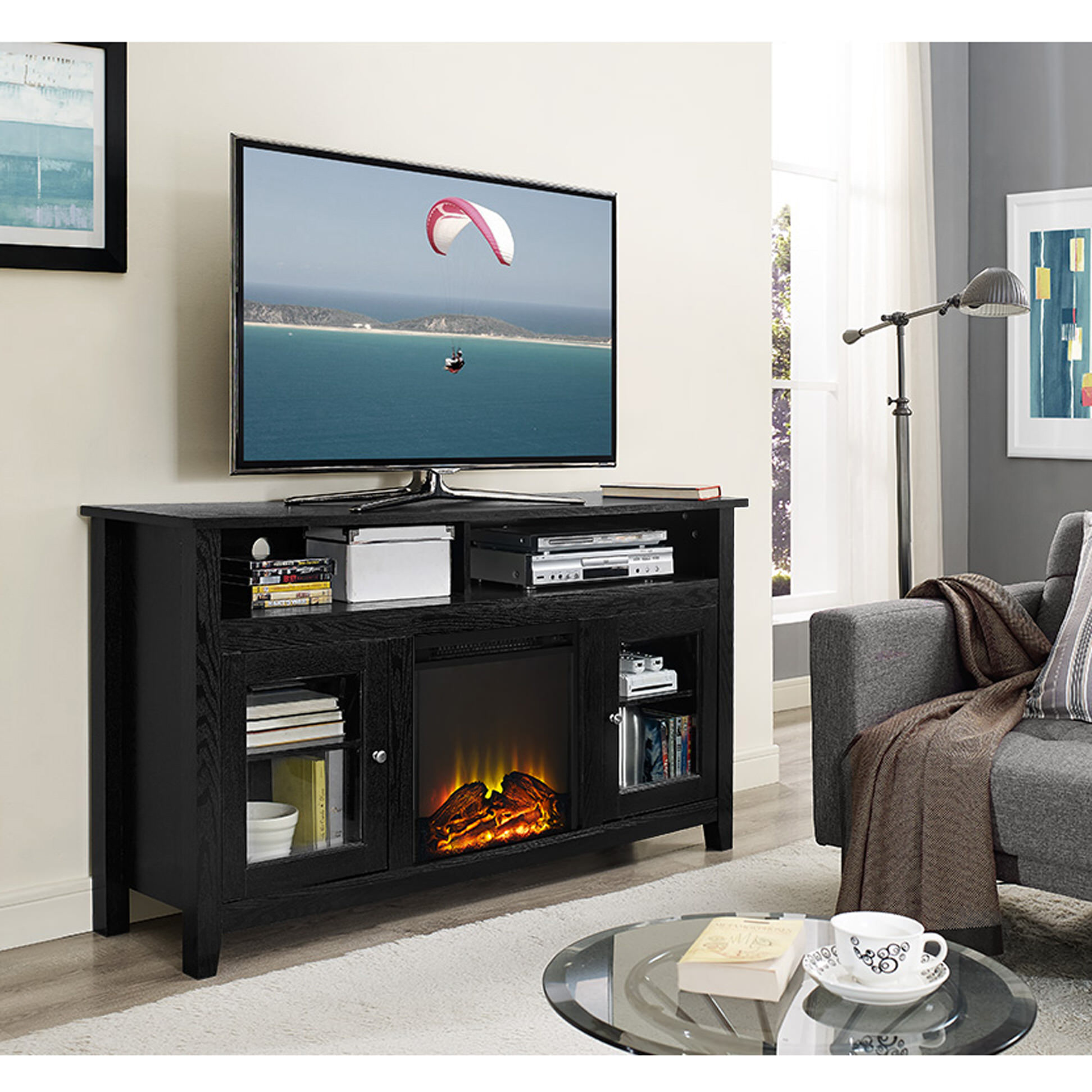 Wasatch 58 Inch Highboy Fireplace Tv Stand Black By Walker Edison