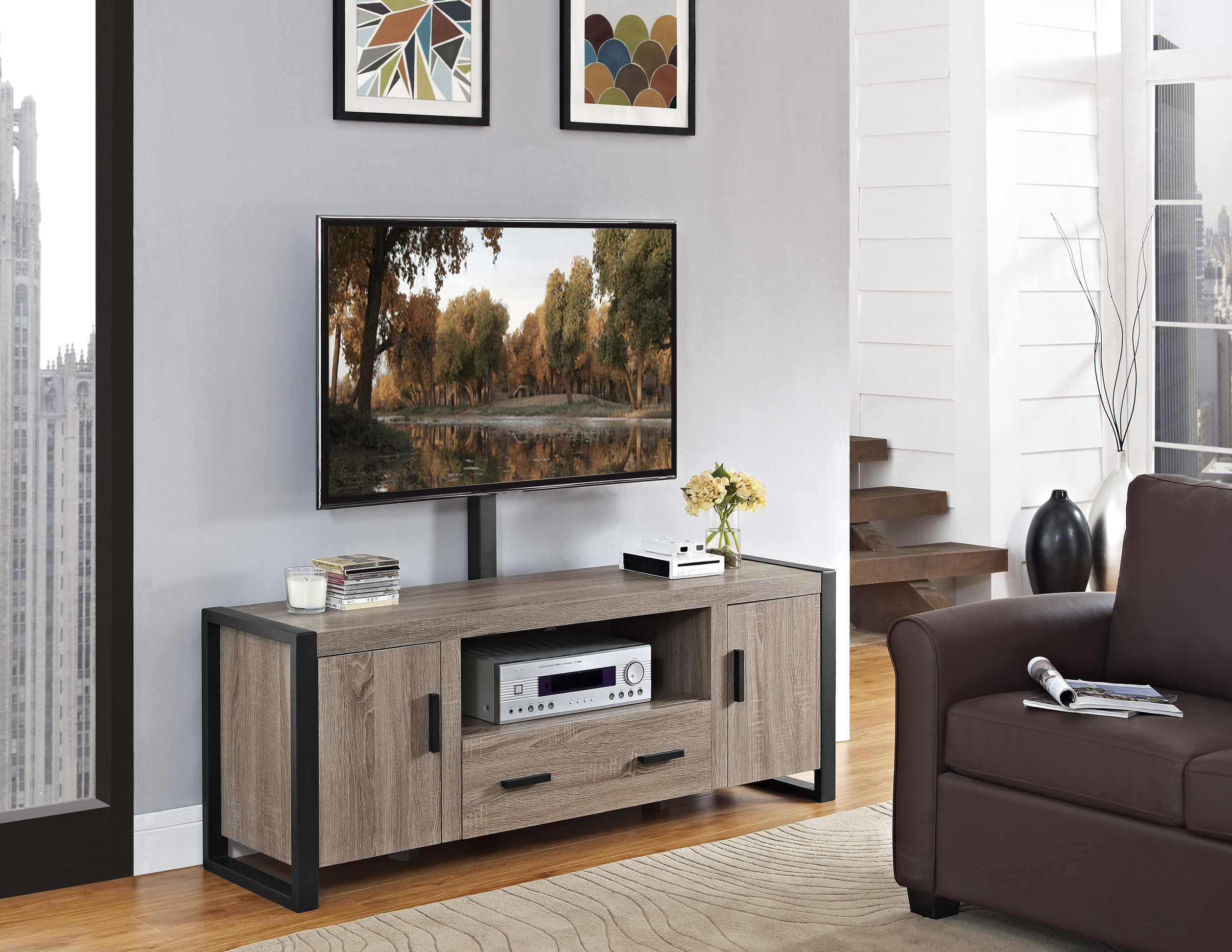 Urban Blend 60 Inch Tv Stand With Mount Driftwood Black By Walker