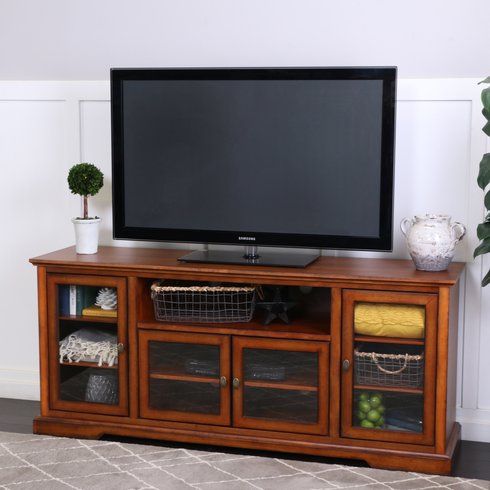 70 Inch Highboy Style Wood Tv Stand Rustic Brown By Walker Edison