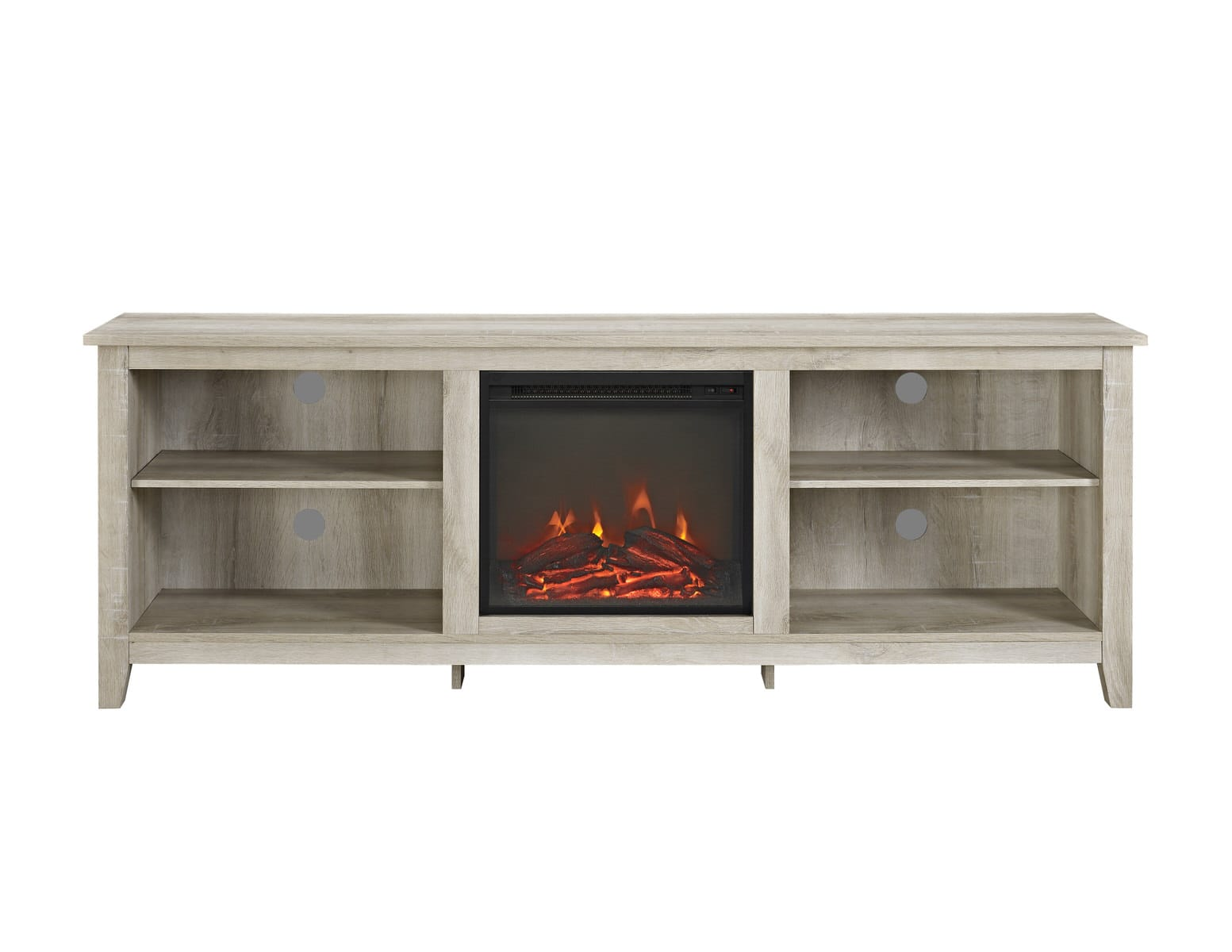 70 Inch Wood Media Tv Stand Console W Fireplace White Oak By
