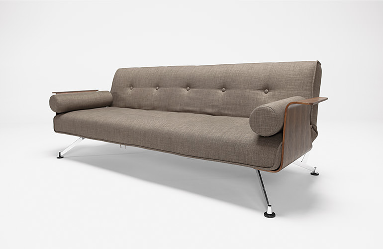 Clubber 03 Deluxe Sofa Olive W/ Wlanut Arms By Innovation (Innovation USA)