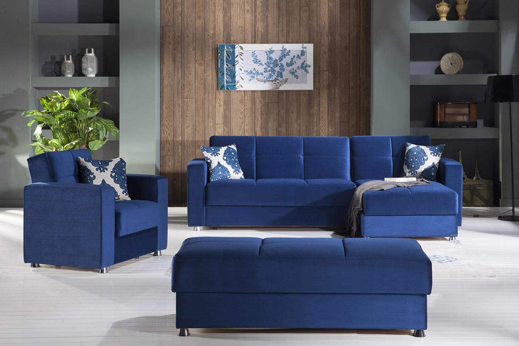 Elegant Roma Navy Sectional Chair Ottoman Set By Istikbal Furniture