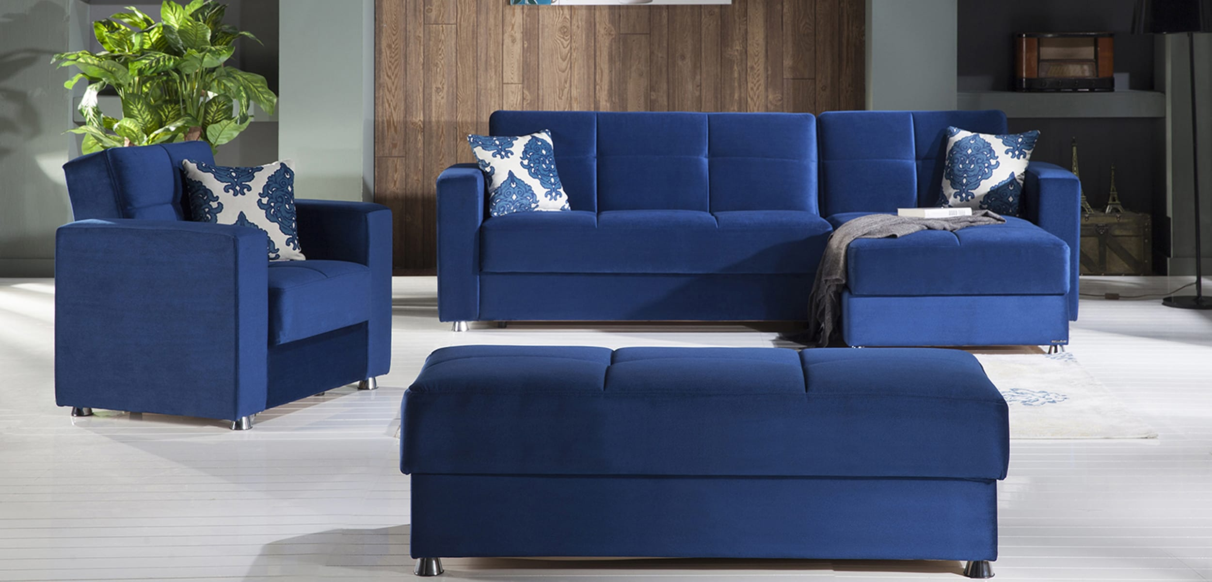 Elegant Roma Navy Sectional Sofa by Istikbal (Sunset)