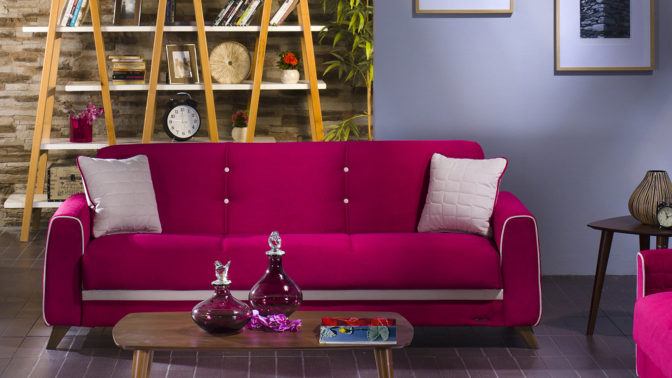 Fabio Plato Fuschia Convertible Sofa Bed By Sunset (Istikbal (Sunset  Furniture))
