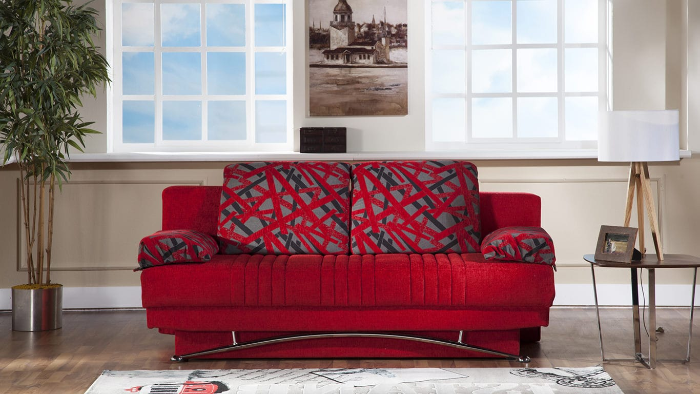 Fantasy Story Red Convertible Sofa Bed By Istikbal Sunset Furniture