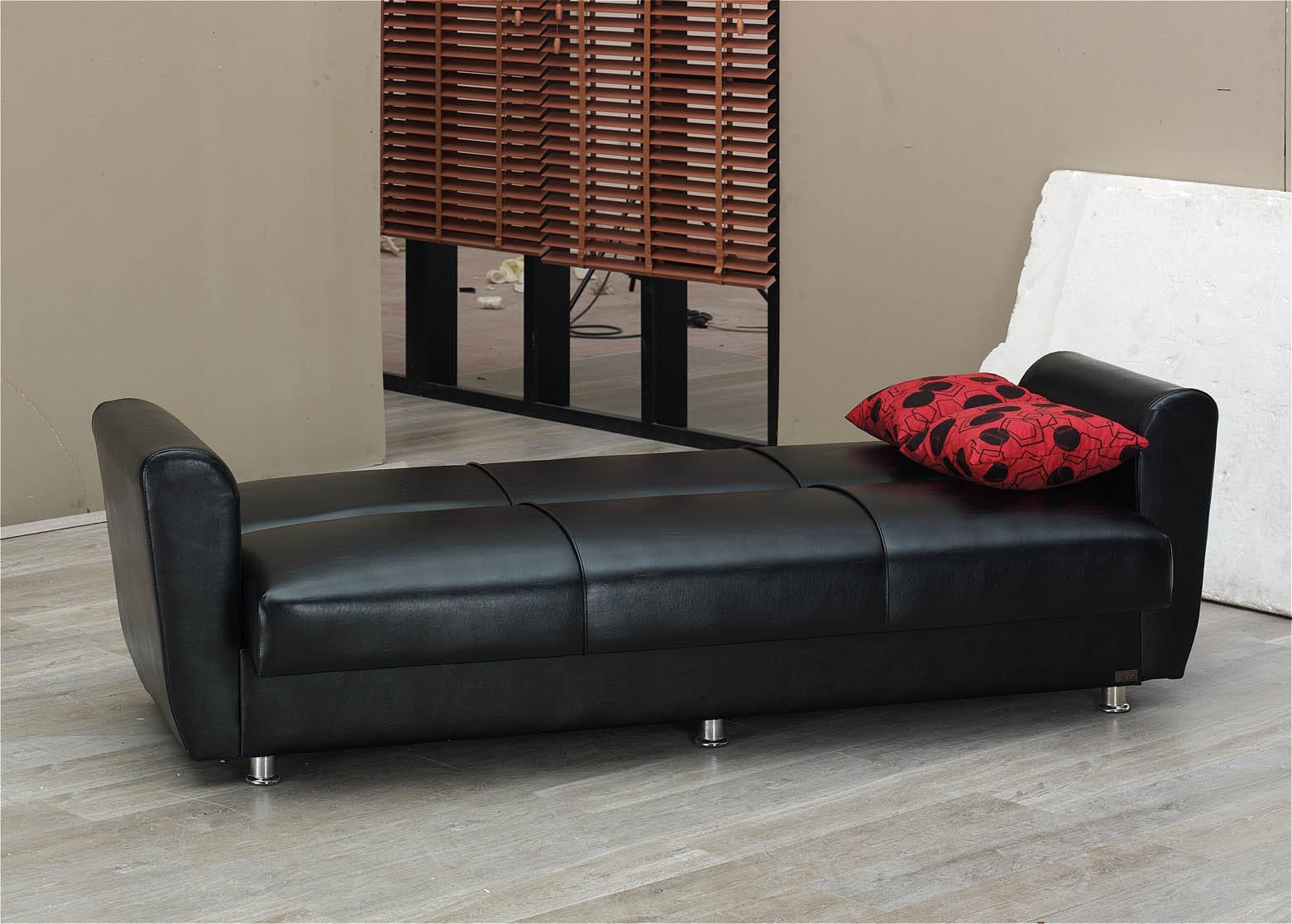 Harlem Black Leather Sofa Bed By Empire Furniture Usa