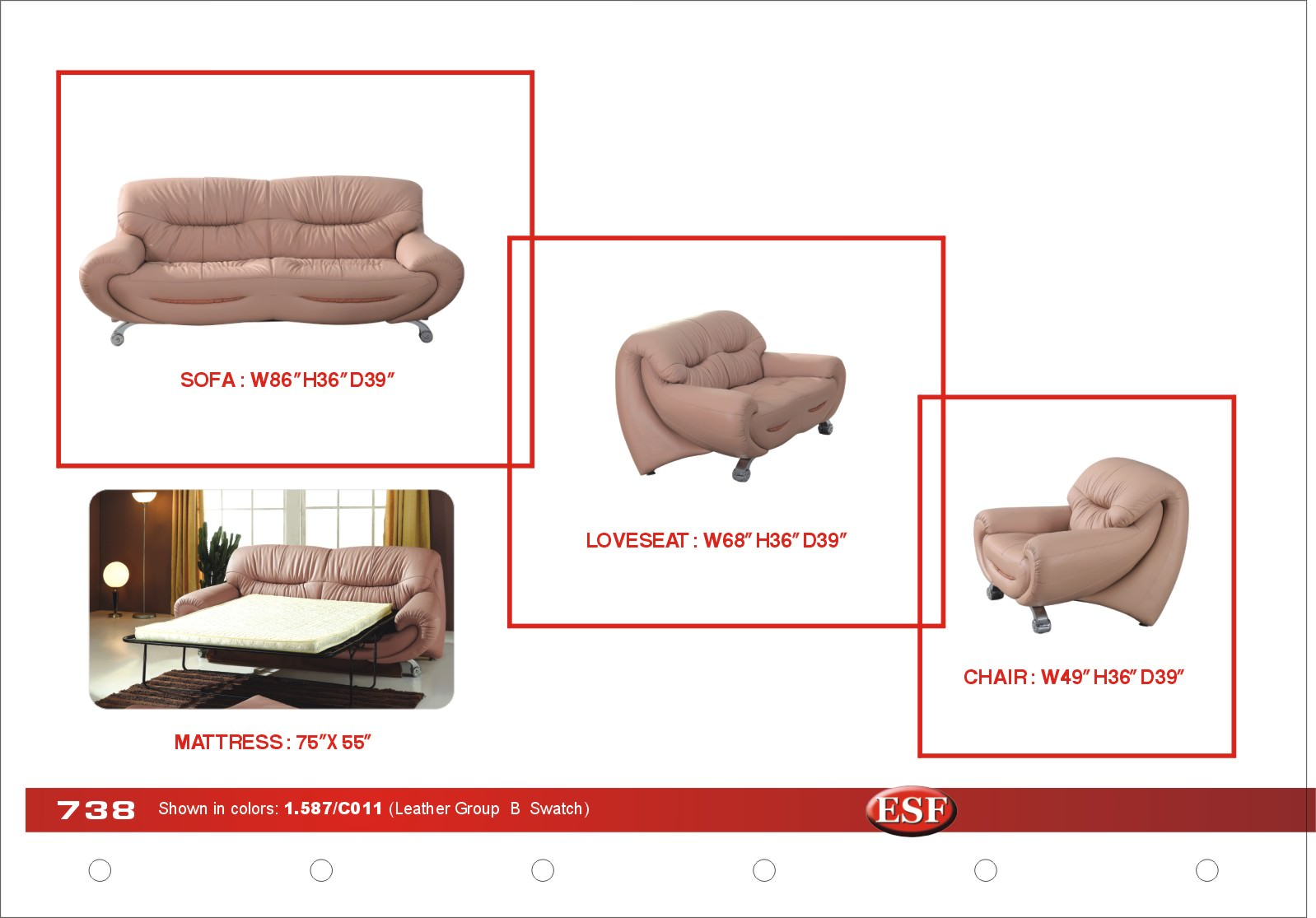 738 leather loveseat by esf for Sofa bed 8101