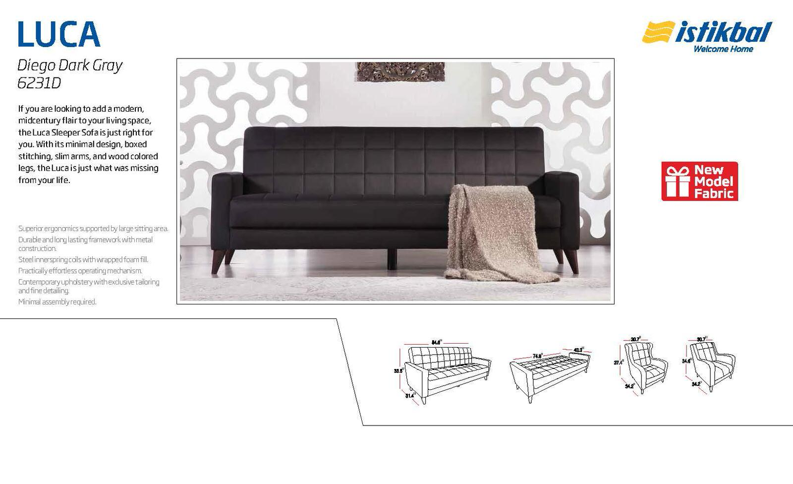 luca diego dark gray convertible sofa bed by sunset