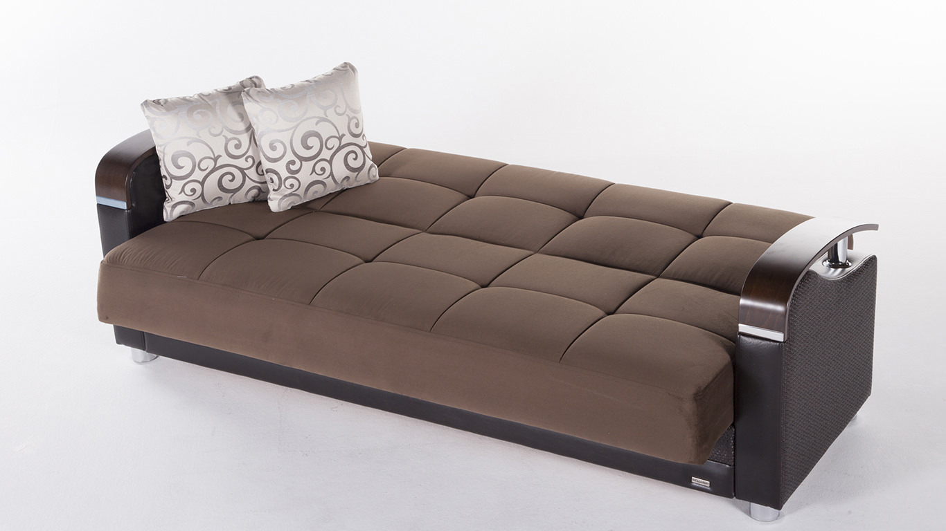 Luna Naomi Brown Convertible Sofa Bed By Sunset International Istikbal