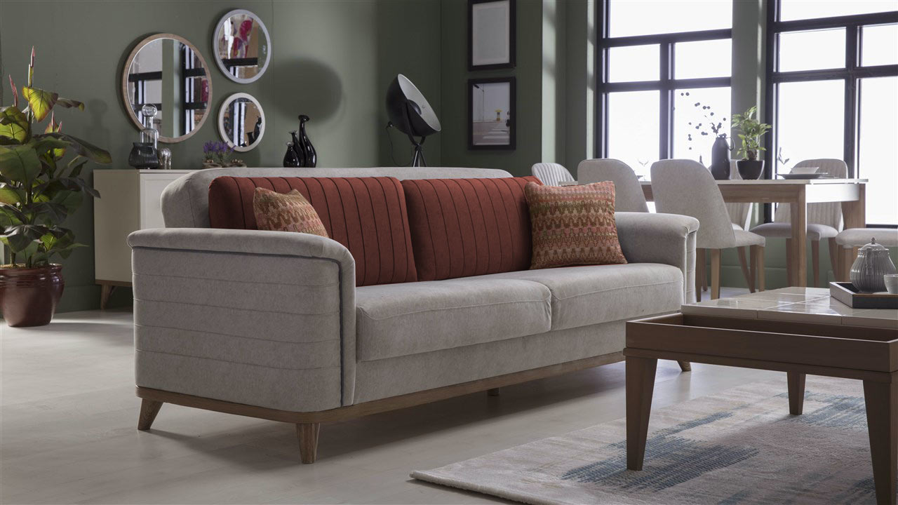Mavenna Carina Stone Convertible Sofa Bed by Istikbal (Sunset)