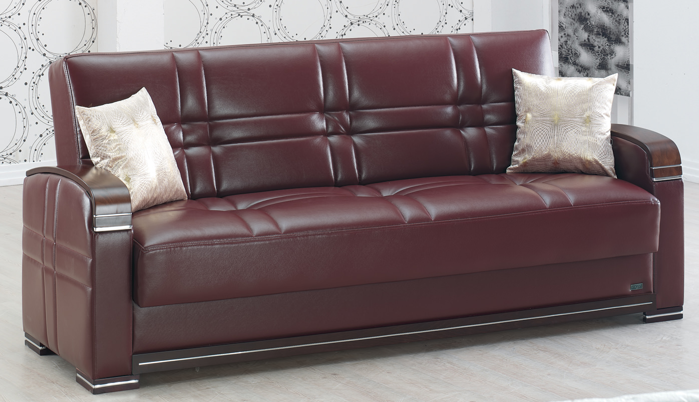 Manhattan Burgundy Leather Sofa Bed By Empire Furniture USA (Empire  Furniture USA)