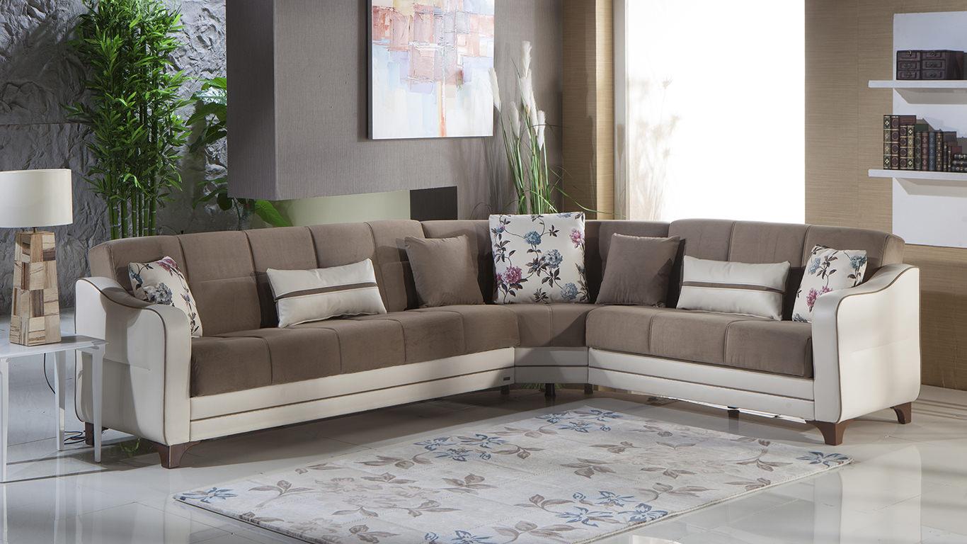 Minas nepal estel vizon sectional sofa by sunset for Living room design in nepal