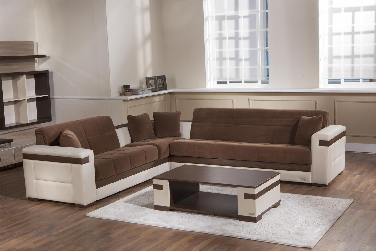 Moon Troya Brown Sectional Sofa W Cream Arms By Sunset Istikbal Furniture