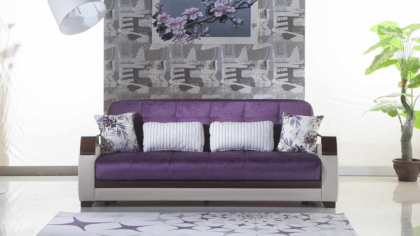 Natural Prestige Purple Convertible Sofa Bed By Istikbal
