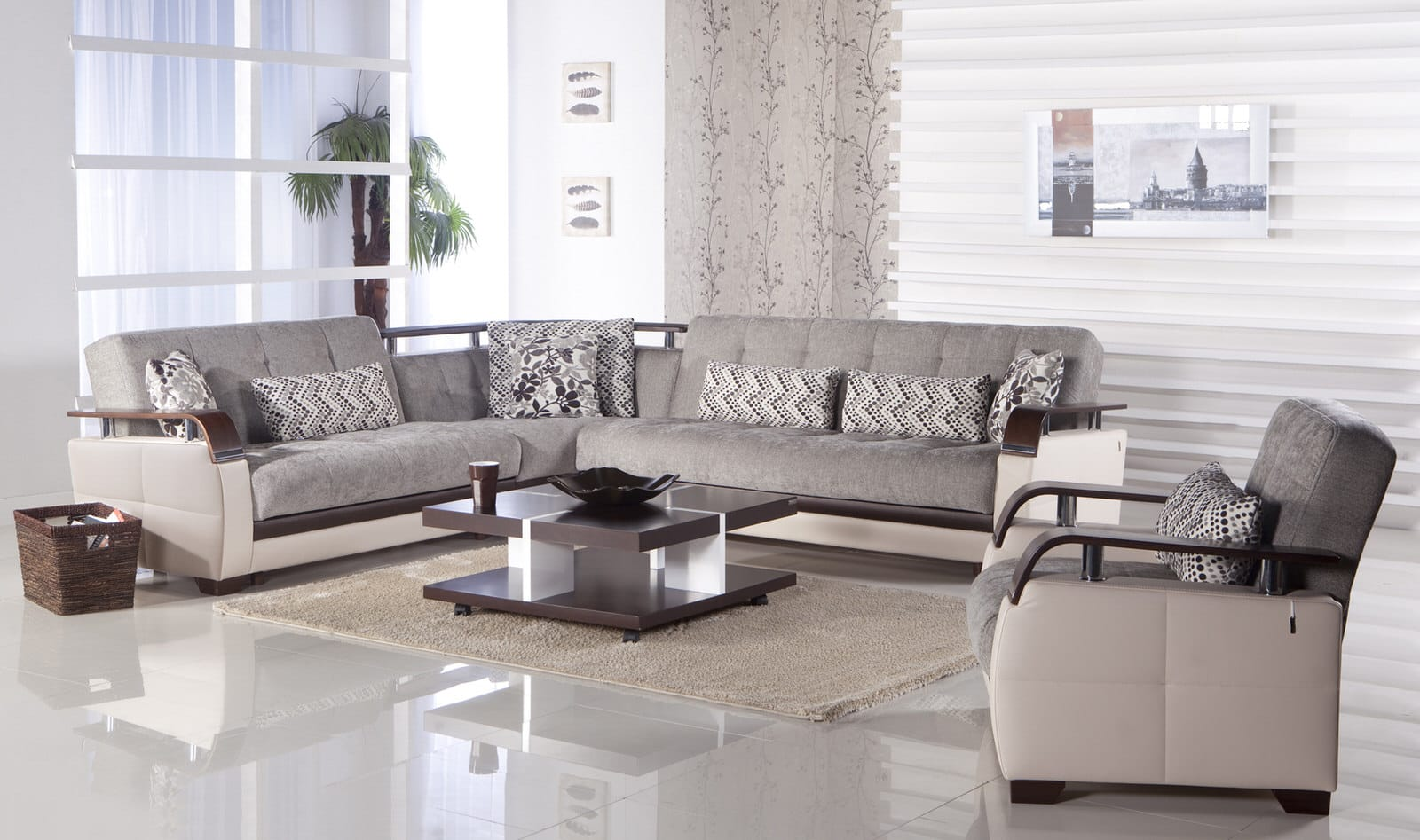 Superbe Natural Valencia Grey Sectional Sofa By Istikbal (Sunset) (Istikbal (Sunset  Furniture)
