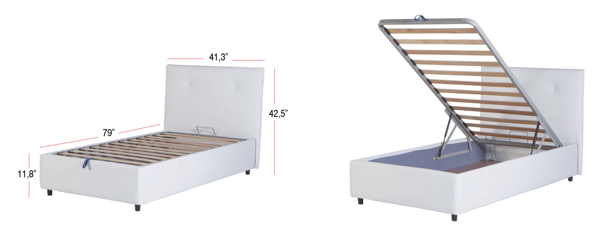 Storage Bed Leather Textile Twin