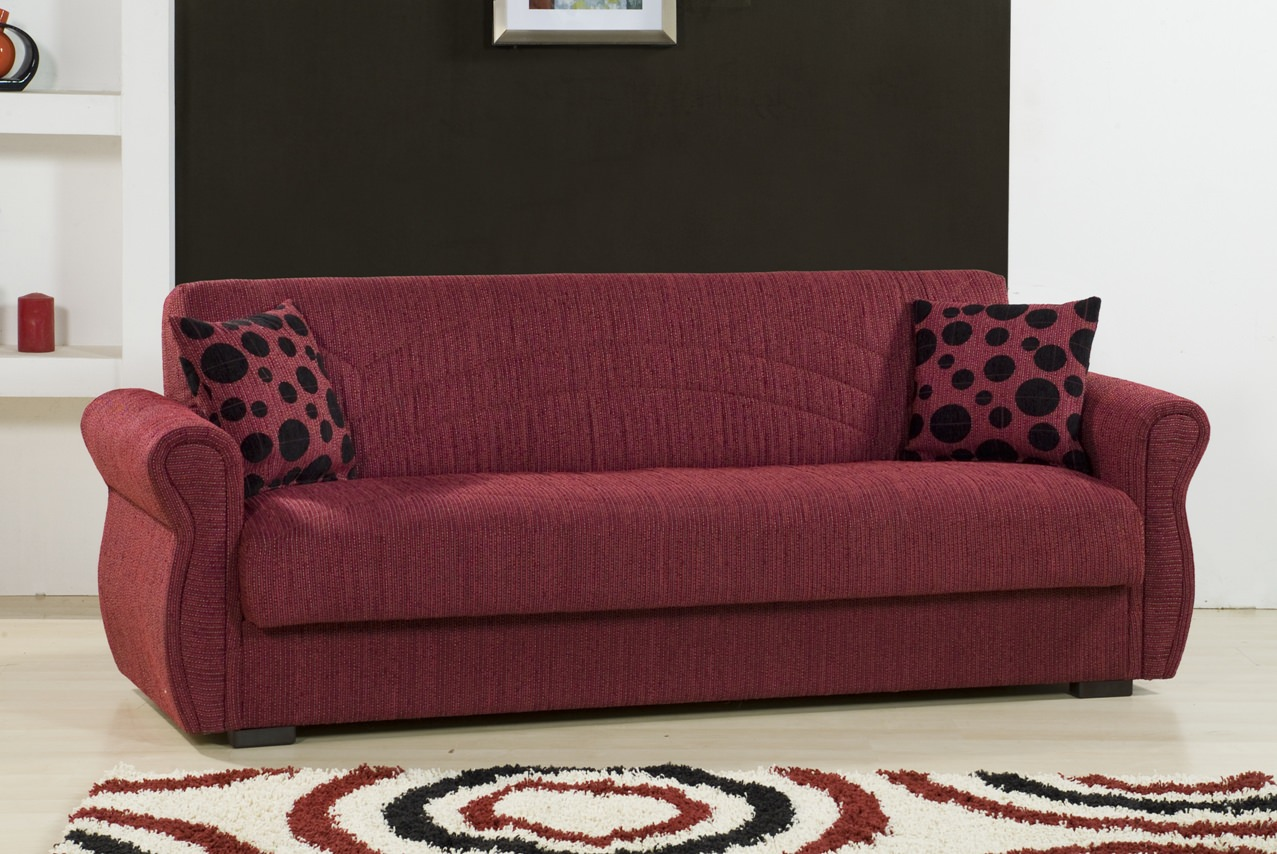 Rain Chenille Maryposo Burgundy Sofa Bed By Kilim