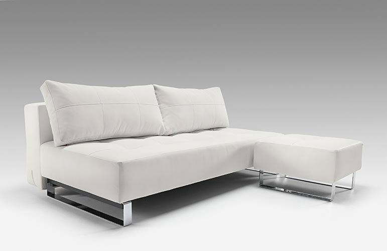 Supremax Deluxe Excess Lounger Sofa Bed White Leather Textile By Innovation  (Innovation USA)
